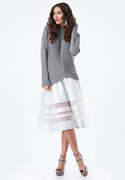 bebe Metallic Tweed Midi Skirt