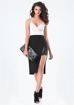 bebe Lace Peekaboo Midi Skirt