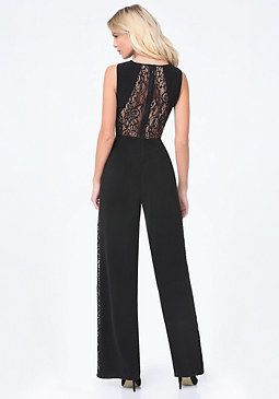 bebe Lace Panel Jumpsuit