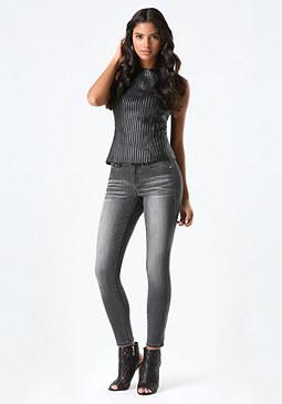 bebe Grey Skinny Jeans