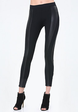 bebe Faux Leather Curve Leggings