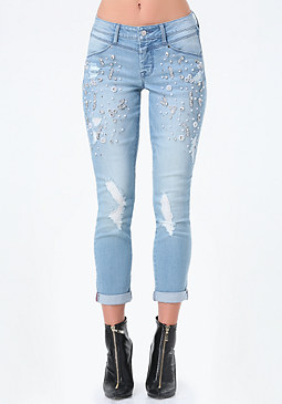 bebe Embellished Destroyed Jeans
