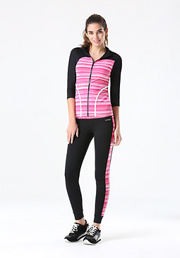 bebe Geo Stripe Block Leggings