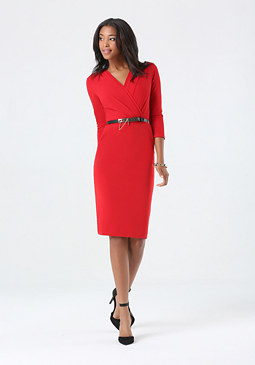 bebe Belted Surplice Midi Dress