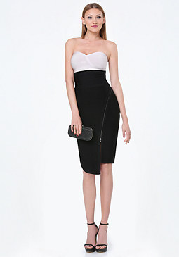bebe Zip Detail Strapless Dress