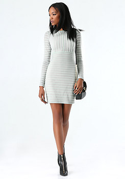bebe Textured Knit Lace Dress