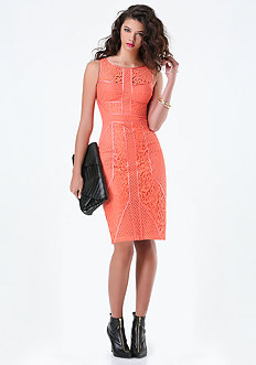 Lace Paneled Midi Dress