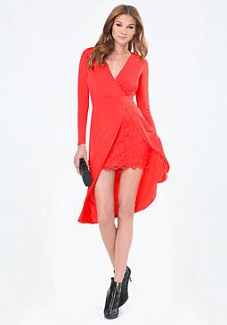 bebe Lace Peekaboo Midi Dress