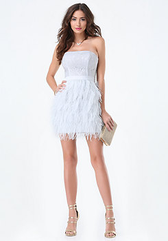 bebe Lace & Feather Dress
