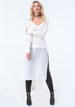 bebe Chiffon Sweater Tunic