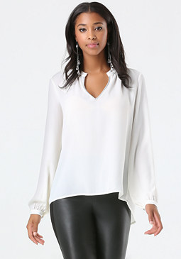 bebe Metallic Neck Blouse