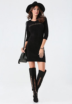 bebe Logo Sweater Dress
