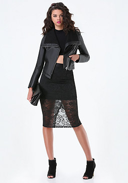 bebe Leather Zip Sleeve Jacket