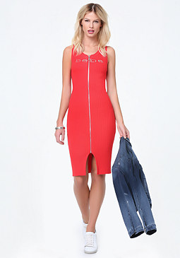 bebe Logo Ribbed Zip Midi Dress