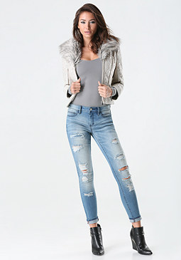 bebe Lace Faux Fur Collar Jacket
