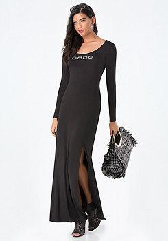 bebe Back Lace Up Maxi Dress