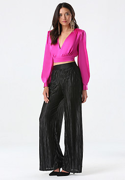 bebe Plunge Neck Crop Top