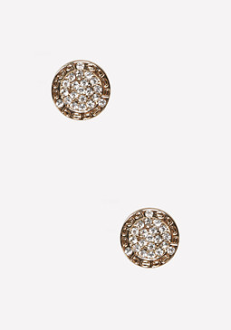 bebe Logo Crystal Disc Earrings
