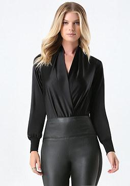 bebe Silk Wrap Bodysuit