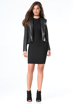 bebe Faux Leather Wrap Jacket