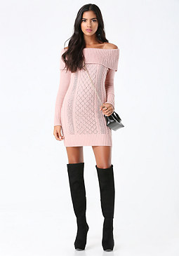 bebe Off Shoulder Sweater Dress