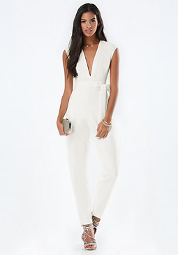 bebe Brock Deep V Jumpsuit