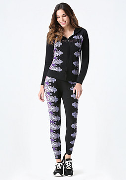 bebe Logo Royal Scroll Leggings