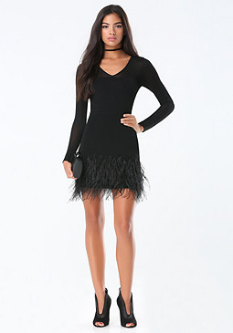 bebe Feather Trim Sweater Dress
