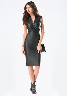 bebe Faux Leather Surplice Dress