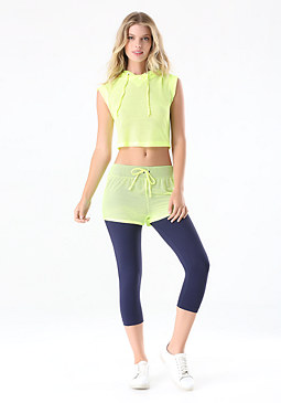 bebe Mesh Short Capri Pants