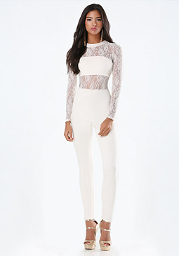 bebe Nick Ponte & Lace Jumpsuit