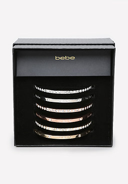 bebe Logo Crystal Bangle Set