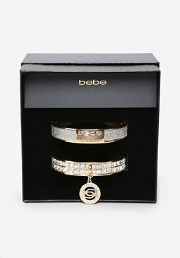 bebe Logo Hinge Bangle Set