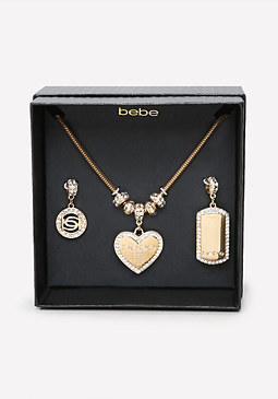 bebe Logo Charm Change Necklace