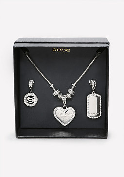 bebe Logo Charm Change Necklace
