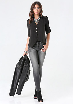bebe Fiorella Button Back Shirt