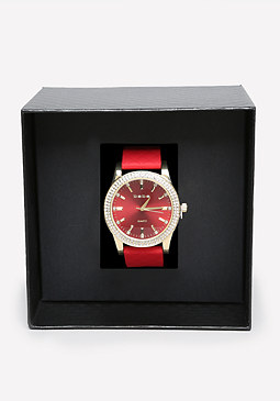 bebe Quilted Wristband Watch