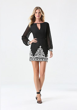 bebe Embroidered Hem Dress