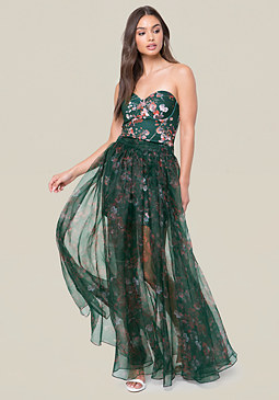 bebe Organza Maxi Skirt Dress