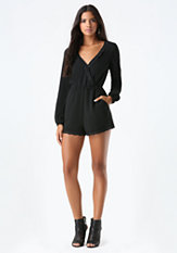 bebe Lace Trim Surplice Romper