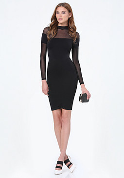 bebe Mesh Yoke Mock Neck Dress