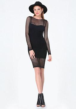 bebe Mesh Overlay Dress