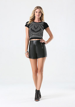 bebe Studded Crop Top