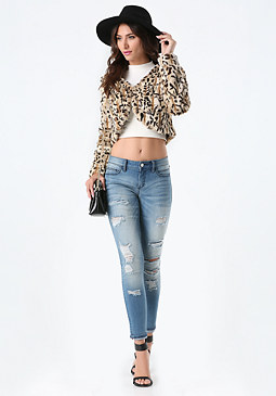bebe Faux Leopard Jacket