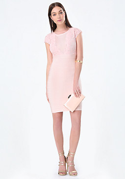 bebe Scallop Lace Bandage Dress