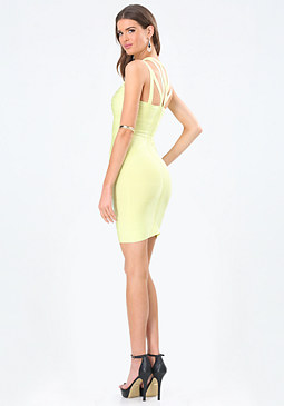 bebe Strappy Yoke Bandage Dress