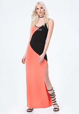 bebe Logo Colorblock Maxi Dress