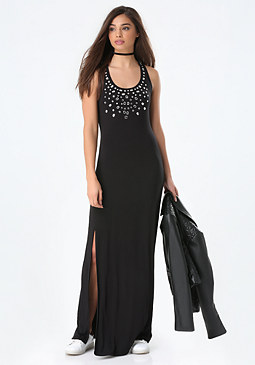 bebe Logo Rhinestone Maxi Dress
