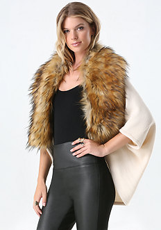 Faux Fur Collar Ruana