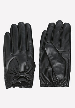 bebe Short Leather Bow Gloves
